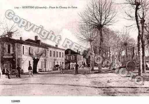 Ville de HOSTENS, carte postale ancienne
