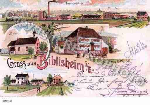 Ville de BIBLISHEIM, carte postale ancienne