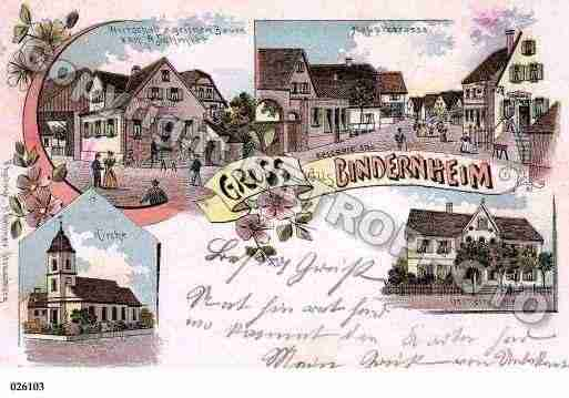 Ville de BINDERNHEIM, carte postale ancienne