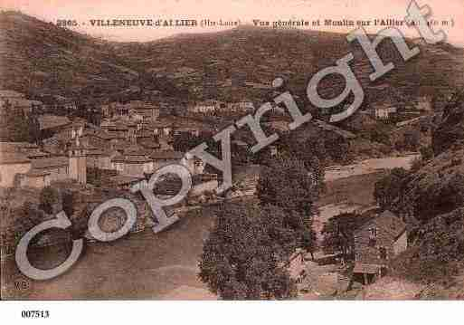 Ville de VILLENEUVED'ALLIER, carte postale ancienne