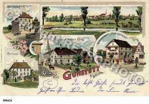 Ville de GUNSTETT, carte postale ancienne