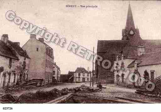Ville de SERENT, carte postale ancienne